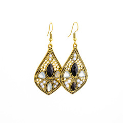hot style exotic style series earrings big name temperament metal alloy earrings Black double