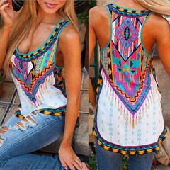 Hot style I vest totemic print T-shirt new spot price concessions one colour s