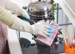 Household cleaning laundry gloves washing dishes rubber latex household gloves waterproof Blue One Size
