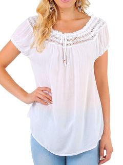 Plus Size Women Loose V-neck Lace Patchwork Short Sleeve Blouse Shirt white s