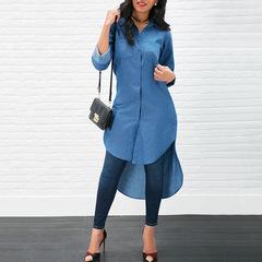 Hot style lapel long sleeve front short back long shirt T-shirt new stock Light blue s