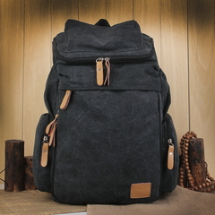 Large Men Vintage Travel Climb Backpack Wash Canvas   Male Retro Casual Rucksack  School Bags Black Small