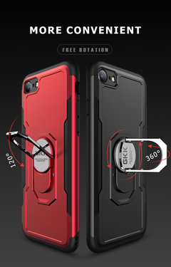 iPhone Case Silicon Hard pc Magnetic Finger Ring for iPhone X  XS 6 6s 6P 7 7 8 Plus 8 Plus case blue iPhone 6
