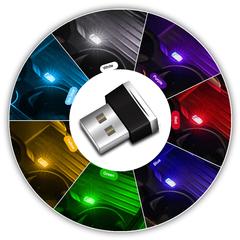 Car Mini USB Light LED Modeling Car Ambient Light Neon Interior Light Car red one size