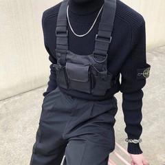 Adjustable Vest Hip Hop Streetwear Functional Tactical Harness Chest  Waist Pack Chest Bag Black
