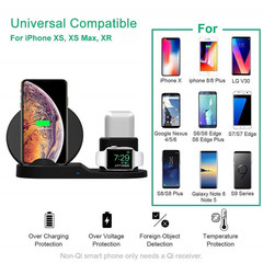 10W Qi Wireless Charger For Iphone Samsung 3 IN 1 Fast Chargeur Quick Charge For Apple Watch Airpods Black One size