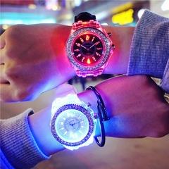 LED Luminous Fashion Wrist watch Shiny Rhinestone Outdoor Women Men colorful Sports WristWatches green one size