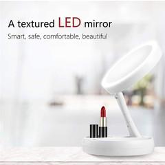 LED Folding Mirror Light 10X Magnifying Makeup Mirror Lamp Portable USB Desktop Cosmetic Mirror Lamp White Battery 17*17*6