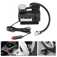 Automotive Mini12V 300PSI Electric Auto Inflatable Pump with Barometer Portable Air Compressor BLACK