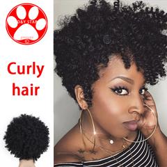 Women African Wig Blast Head Wigs Female Silk Fiber Wig Synthetic New Fashion Hair Women Hair Wave black 10cm