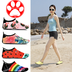 Beach shoes Female Male Adult Snorkeling Shoes Socks Non-Slip Soft sole Children Swimming Quick dry Watermelon Red 36-37(Suitable for35-36)