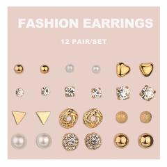 12Pairs  Mini Heart Earrings Women Jewellery Rhinestone Pearl Earring Beautiful Fashion Accesorries gold one size