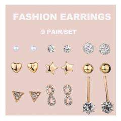 9 Pair/set Earrings Women Jewellery Rhinestone Pearl Ears Party Beautiful Fashion Accesorries gold one size