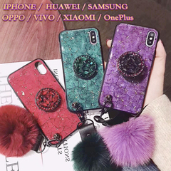 Mobile Phone Covers Marble Case For iPhone/HUAWEI/SAMSUNG/Xiaomi Soft Cover Rings Mobile Accessories Purple iphone6/6s+ring