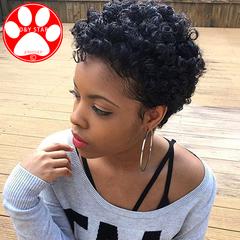 Black Synthetic Wigs New Fashion Hair Wigs Women Wigs Hair Wave 10inch Small volume Short Headgear Black 10 inch