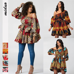 2019 Sexy Shoulder Tight Contraction Dress Skirt Summer Digital Printing Fluffy AfricaTops m 5#