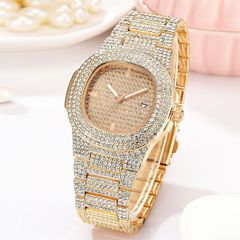 Women's Luxury Beautiful Set With Diamond Calendar Quartz Watch Trend Waterproof Watch female women gold one size