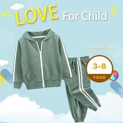 Baby Boy Clothes Set Winter Warm Sport Suit for Girl Fashion Plus Warm Tops+pants Children Tracksuit green 90cm