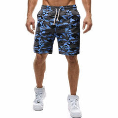 Free shipping New Fashion Brand Men shorts  Casual camouflage beach pants five pants blue m