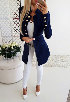 Best Sellers New Long Sleeve Slim Suit.Breasted.Gift: A Pair Of Short Stockings.Coats & Jackets Blue M