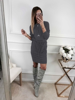 Hot-Selling New Round-necked Long-sleeved Simple Slim Dress.Gift: A Pair Of Short Stockings.Dresses m Dark Grey
