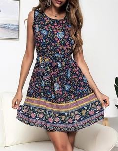 New Fashion Circle Collar Printed Zipper Dresses.Gift: A Pair Of Short Stockings. l Blue