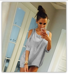 Loose T-shirts With Open Shoulders.Gift: A Pair Of Short Stockings. gray M