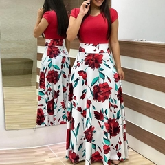 Flower Printed Long Dress.Gift: A Pair Of Short Stockings. m red