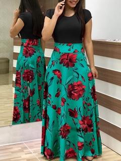 Flower Printed Long Dress.Gift: A Pair Of Short Stockings. l black