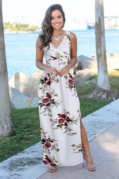 Sleeveless Printed Chiffon Split Dress.Gift: A Pair Of Short Stockings. m white