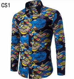 New Fashion Leisure Printed Long Sleeve Shirts.Gift: A Pair Of Socks.Men's Clothes blue L