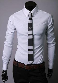 New Men's Long Sleeve Shirts.Diamond pattern.Gift: A Pair Of Socks. white xxl