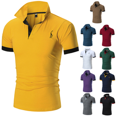 New Summer Men's Short Sleeve T-shirt.Polyester and cotton.Ultra thin, breathable.T-shirts.Polos yellow M cotton