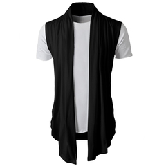 New Men's Casual Sleeveless Knitted Cardigan.Gift: A Pair Of Socks.Jackets & Trench Coats black xl