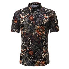 New Summer Men's Leisure Short-sleeved Flower Shirt.Gift: A Pair Of Socks. black xl