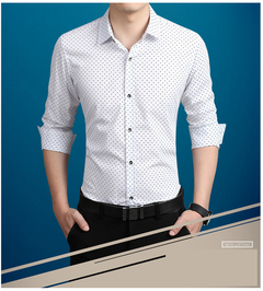 Men's Leisure Printed Long Sleeve Shirts.Cultivate One's Morality.Gift: A Pair Of Socks. white l