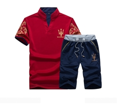 Men's Fashion Leisure Sports Suit.T-shirt And Trousers Two-piece Suite.Gift: A Pair Of Socks. Polos red l cotton