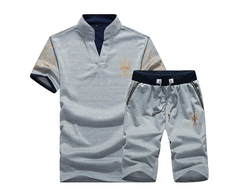 Men's Fashion Leisure Sports Suit.T-shirt And Trousers Two-piece Suite.Gift: A Pair Of Socks. Polos gray l cotton