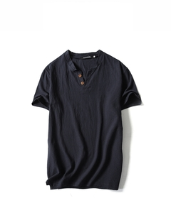 Men's Fashion Flax Short Sleeve T-shirt.Pure Color.Gift: A Pair Of Socks. black m Flax