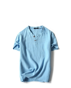 Men's Fashion Flax Short Sleeve T-shirt.Pure Color.Gift: A Pair Of Socks. blue xl Flax