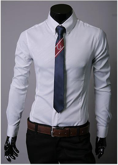 New Fashion Men's Long Sleeve Shirts.Cultivate One's Morality.Gift: A Pair Of Socks. white xxl