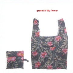 New Portable, Fashionable and Environment-friendly Polyester Shopping Bag.Collapsible. greenish lily flower one size