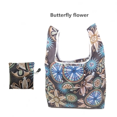 New Portable, Fashionable and Environment-friendly Polyester Shopping Bag.Collapsible. butterfly flower one size