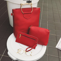 New Fashion Ladies'handbags. Hot Sellers. Cat Head Shape. 3 pieces.8909 red one size