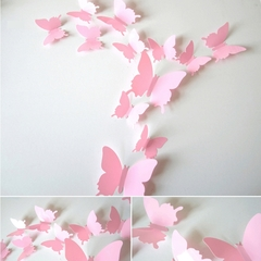 3D Butterfly Stereo Wall Decoration.Refrigerator Magnet.Magnet Type.Adhesive tape.12pcs.Home Decor. pink 12pcs