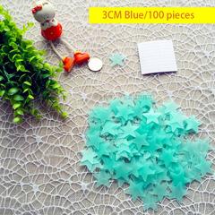 Star Nightlight Patch.3CM.Fluorescence.Plastic.Room Decoration.Fashion.Home Decor blue 3CM