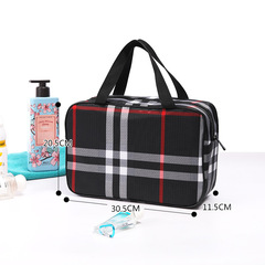 New Zipper Printed Waterproof Washing Bath, Bath, Fitness, Travel, Large Capacity, Double Layer.01 black one size