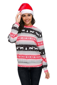 New Christmas Long Sleeves For 2019. Round Collar, Printing, Hot Selling. Polyester Fiber.Tops BLACK AND RED m