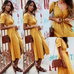 V-neck Short Sleeve Button Dress With Belt, Hot Selling, Cotton And Polyester. m yellow
