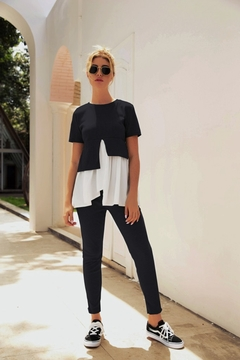 New Lotus Leaf Edge Short Sleeves, Trousers Suit, Hot Selling, Polyester. black m
